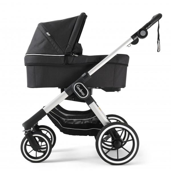 Emmaljunga NXT90 Kinderwagen mit Liegewanne - Lounge Black Eco > Silber