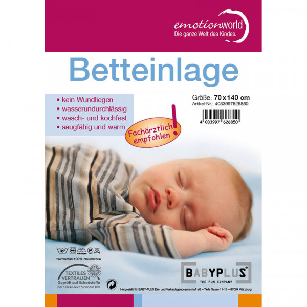 Baby Plus Betteinlage wasserdicht - 70 x 140 cm