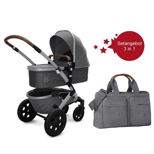 Joolz Geo 2 Setangebot Kinderwagen + Wickeltasche Radiant Grey