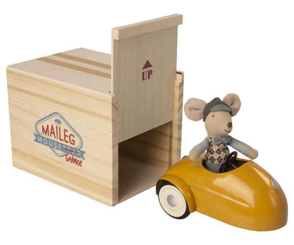 Maileg Maus Auto mit Garage- Gelb