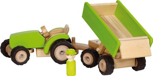 GoK Traktor mit Anhänger aus Holz - Grün