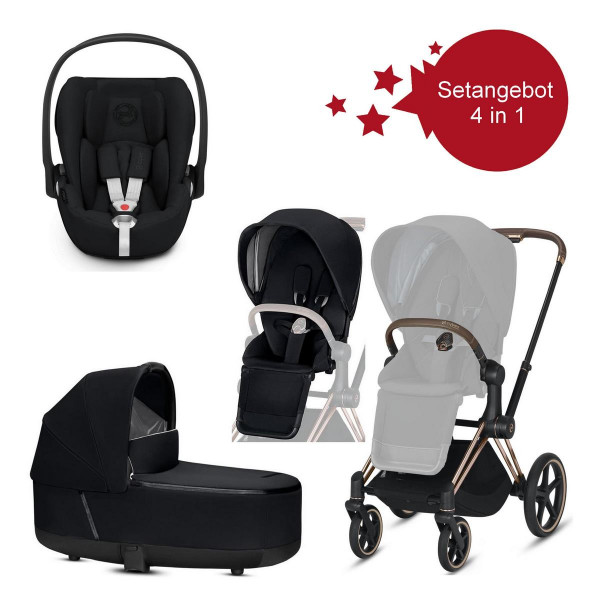 Cybex Priam Setangebot Rose Gold Gestell, Schwarz