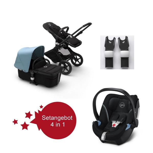 Bugaboo Fox2 Setangebot mit Babyschale Aton 5 - Schwarz, Nebelblau