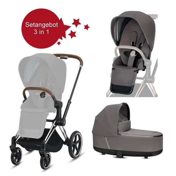 Cybex Priam Setangebot Kinderwagen + LUX Wanne Chrome Brown Manhatan Grey