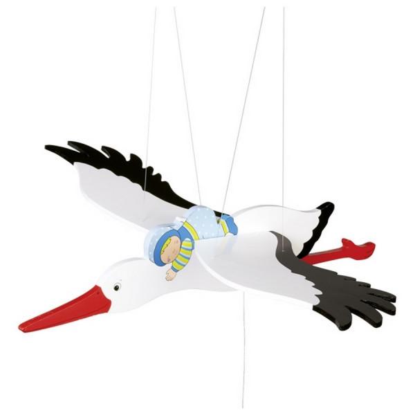 GoKi Schwingtier Storch mit Baby Schwingfigur aus Holz - Storch Junge