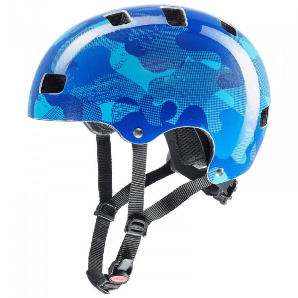 uvex kid 3 Fahrradhelm blue camo
