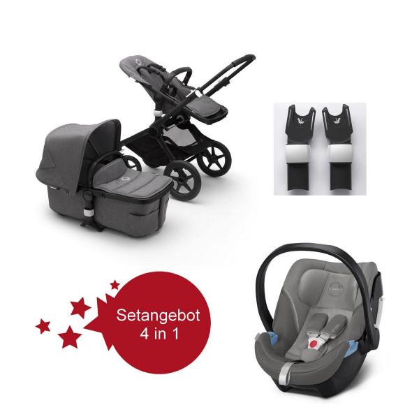 Bugaboo Fox2 Setangebot mit Babyschale Aton 5 - Schwarz, Grau Meliert