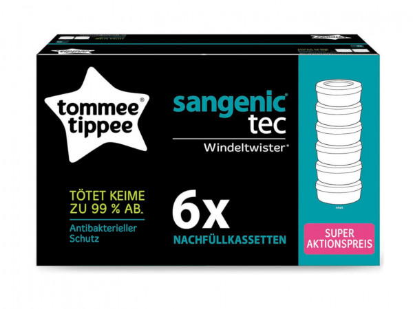 6er Pack Nachfüllkassetten für Windeltwister von Tommee Tippee.