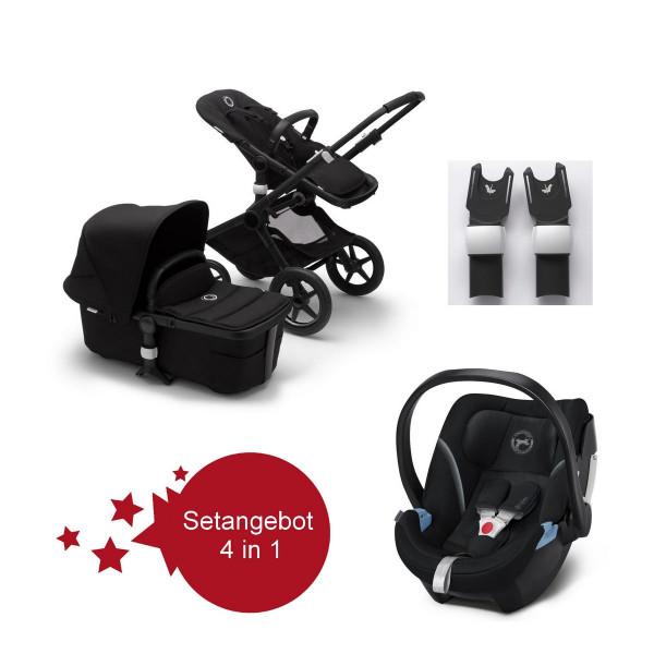 Bugaboo Fox2 Setangebot mit Babyschale Aton 5 - Schwarz, Schwarz