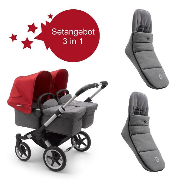 Bugaboo Donkey3 Twin Setangebot mit Fußsäcke- Alu, Grau Meliert, Rot