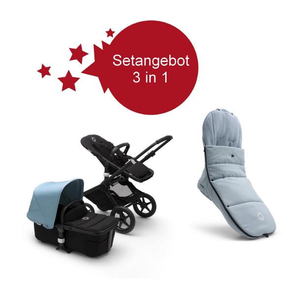 Bugaboo Fox2 Setangebot mit Fußsack- Schwarz, NebelBlau