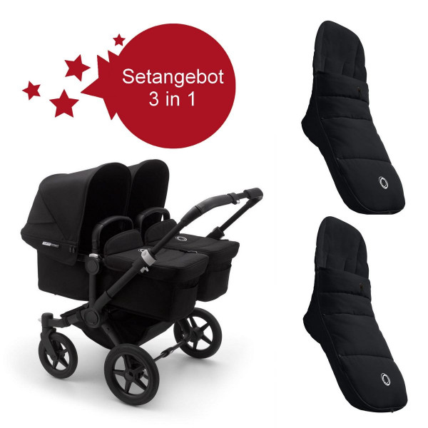 Bugaboo Donkey3 Twin Setangebot mit Fußsäcke- Schwarz, Schwarz, Schwarz
