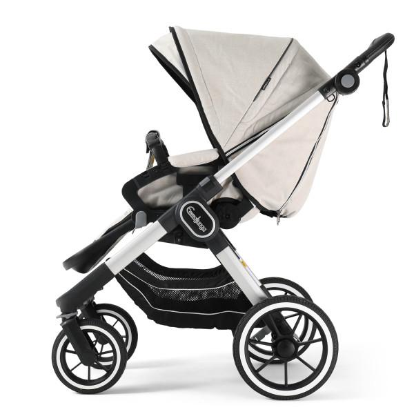Emmaljunga NXT90F Kinderwagen mit Sitzteil Flat - Lounge Beige Eco > Silber