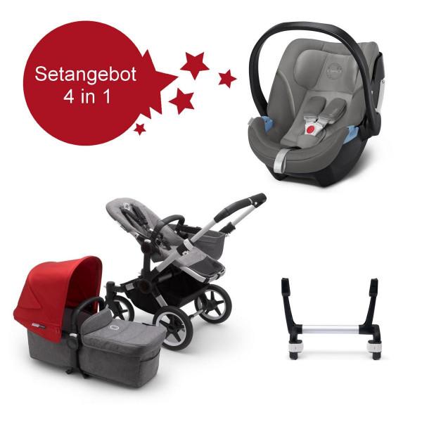 Bugaboo Donkey3 Mono Setangebot mit Babyschale Aton 5- Alu- Grau Meliert- Rot