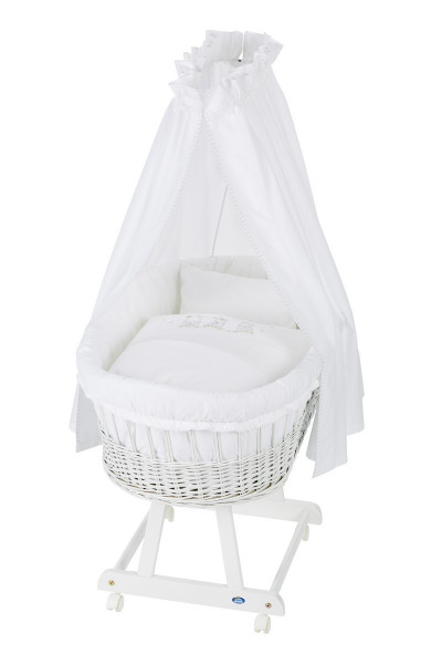 Alvi Wicker Cot Birthe White + Canopy Pole + Fleece Mattress