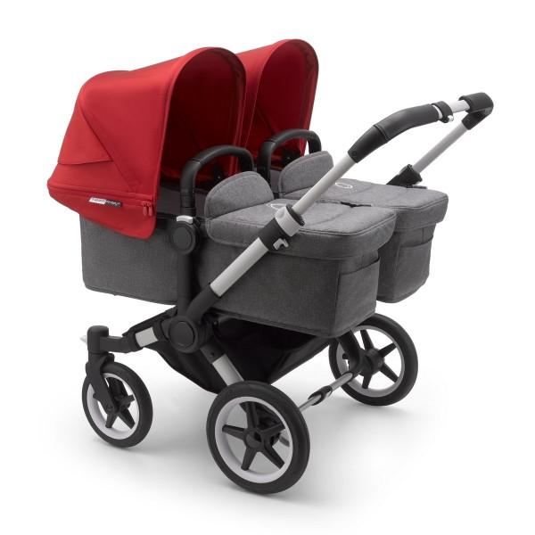 Bugaboo Donkey3 Twin Komplett Set Zwillingskinderwagen- Alu, Grau Meliert, Rot
