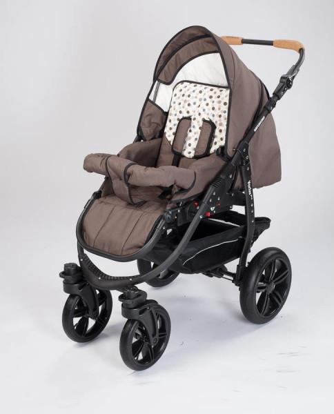 Varius Pro – der leichte und wendige Trendkinderwagen von Naturkind für ökologiebewusste Eltern. Das Modell ist mit unterschiedlichen Radtypen zu haben: hier mit PE-Rad. Die Kinderwagenbilder zeigen das Varius-Design, die Stoff- und Gestellfarbe, NICHT ab