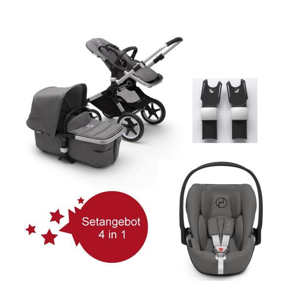 Bugaboo Fox2 Setangebot mit Babyschale Cloud Z I-Size- Alu, Grau Meliert