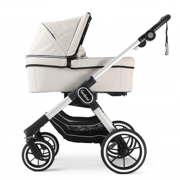 Emmaljunga NXT90 Kinderwagen mit Liegewanne - Lounge Beige Eco > Silber