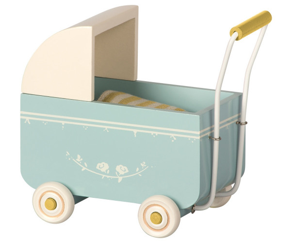 Maileg Pram for MY Mouse- Blue
