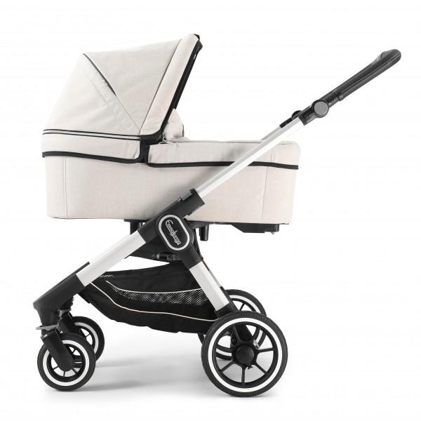 Emmaljunga NXT60 Kinderwagen mit Liegewanne - Lounge Beige Eco > Silber