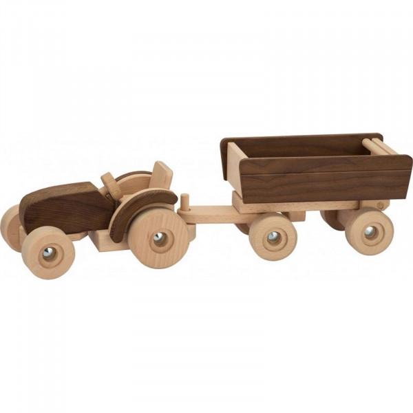 GoKi Spielzeugauto - Traktor mit Anhänger - Goki Nature