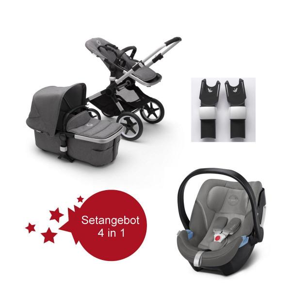 Bugaboo Fox2 Setangebot mit Babyschale Aton 5 - Alu, Grau Meliert