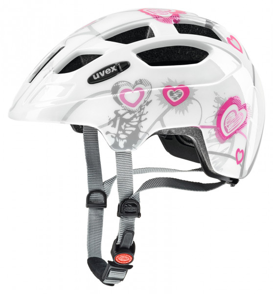 Mit dem uvex finale junior Fahrradhelm heart white pink