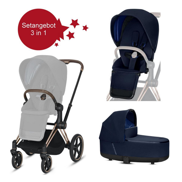 Cybex Priam Setangebot Kinderwagen + LUX Wanne Rose Gold Indigo Blue