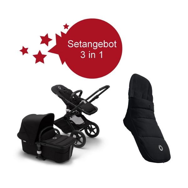 Bugaboo Fox2 Setangebot mit Fußsack- Schwarz, Schwarz