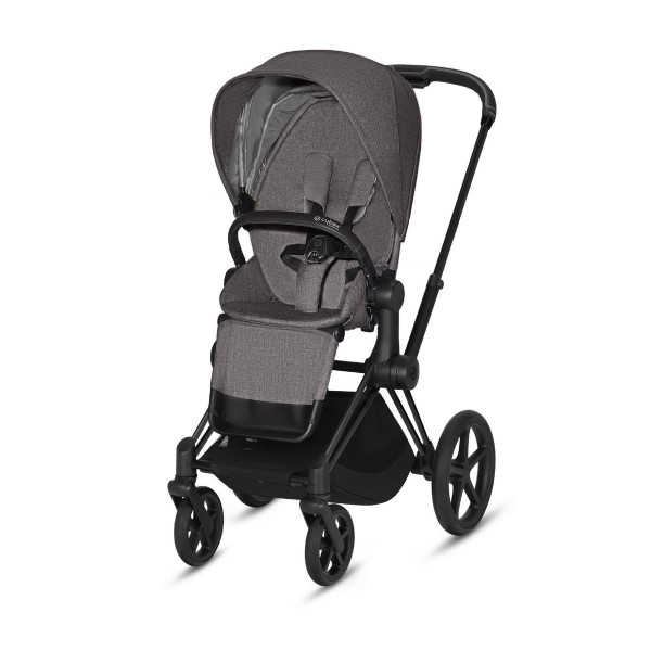 Cybex ePriam Kinderwagen Matt Black- Manhatten Grey Plus