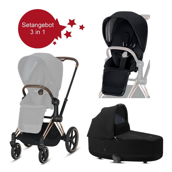 Cybex Priam Setangebot Kinderwagen + LUX Wanne Rose Gold Deep Black- Schwarz