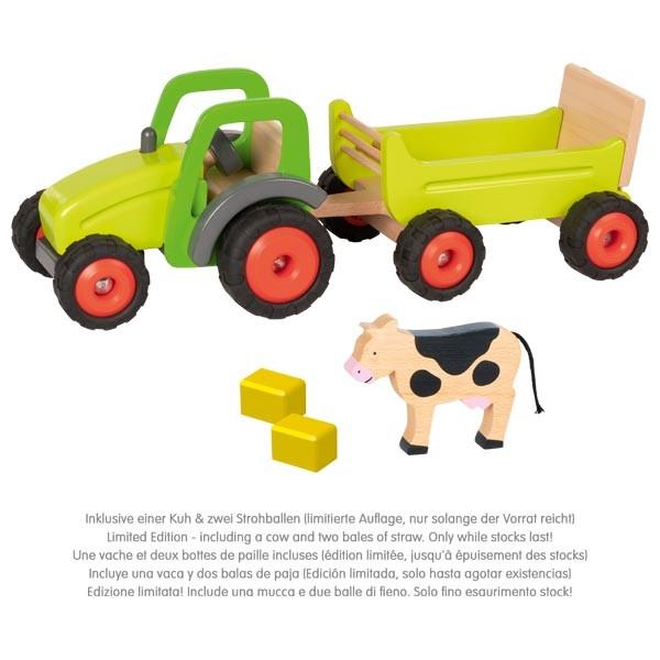 Goki Traktor mit Anhänger inkl. Kuh& Strohballen
